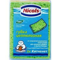 Nicols губка з нат. целюлози Kitchenet 3шт (5901718422328)