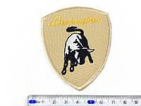 Нашивка эмблема Lamborghini цвет светло бежевый