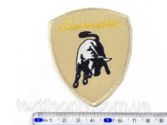 Нашивка эмблема Lamborghini цвет светло бежевый, фото 2