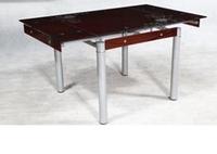 Стол обеденный стеклянный ТВ21-3 раскладной 100/150*80*75 см (рубиновый)