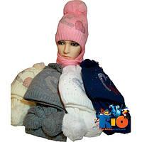 Вязаный комплект шапочка с шарфиком арт.325 , вязка , флис , для девочек (р-р 52-54)