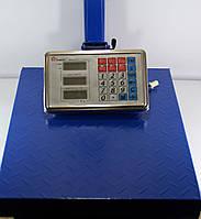 Электронные весы на 300 кг Domotec, подсветка, стойка для табло, 2 вида питания, платформа 40х50 см