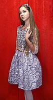 Платье для девочки стильное Золотое кружево / вензеля