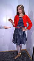 Платье для девочки стильное в горошек с пиджаком