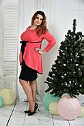 Женское нарядное платье для праздника 0377 цвет коралл размер 42-74 / батальное, фото 2