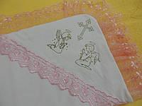 Полотенце крестильное (крыжма) с розовым кружевом, Lari