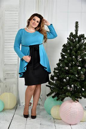 Женское нарядное платье для праздника 0377 цвет голубой размер 42-74 / батальное, фото 2