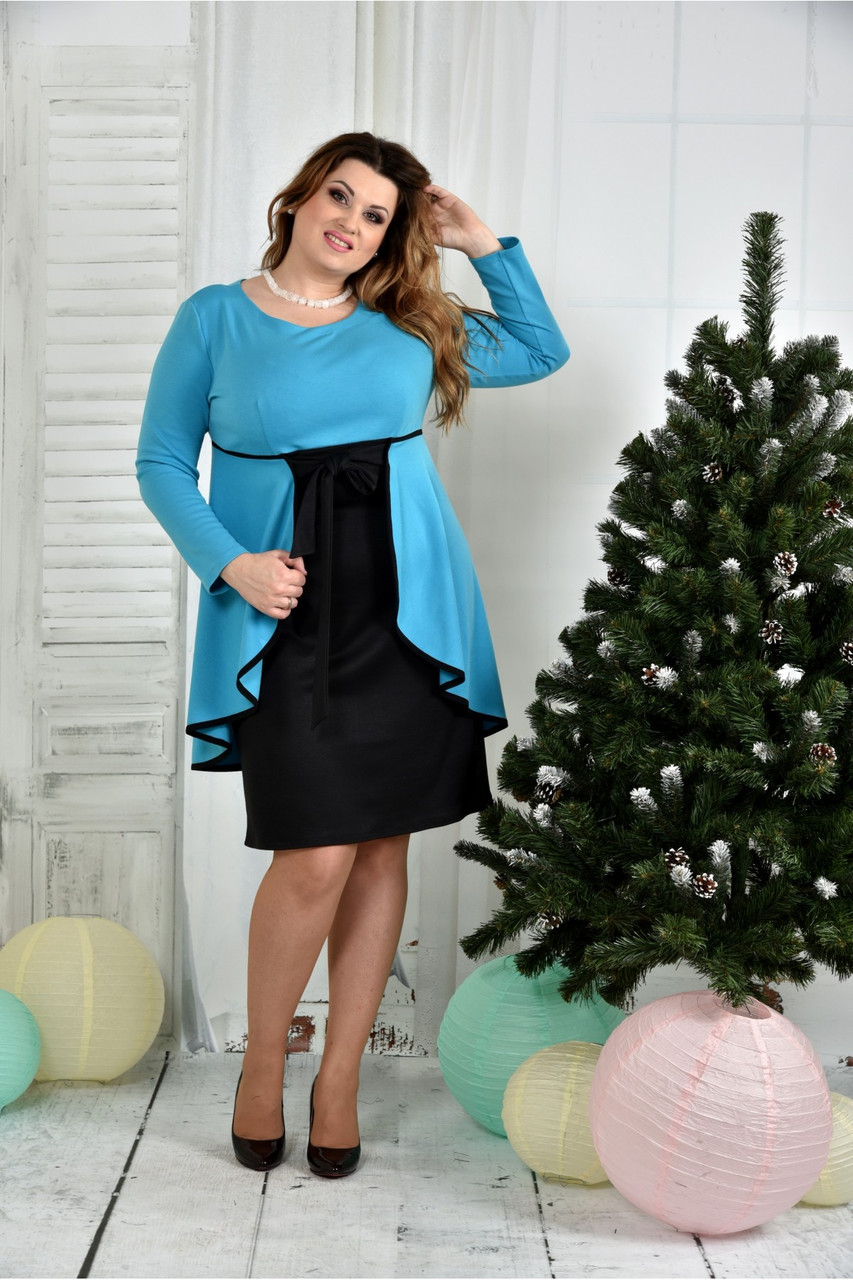 Женское нарядное платье для праздника 0377 цвет голубой размер 42-74 / батальное