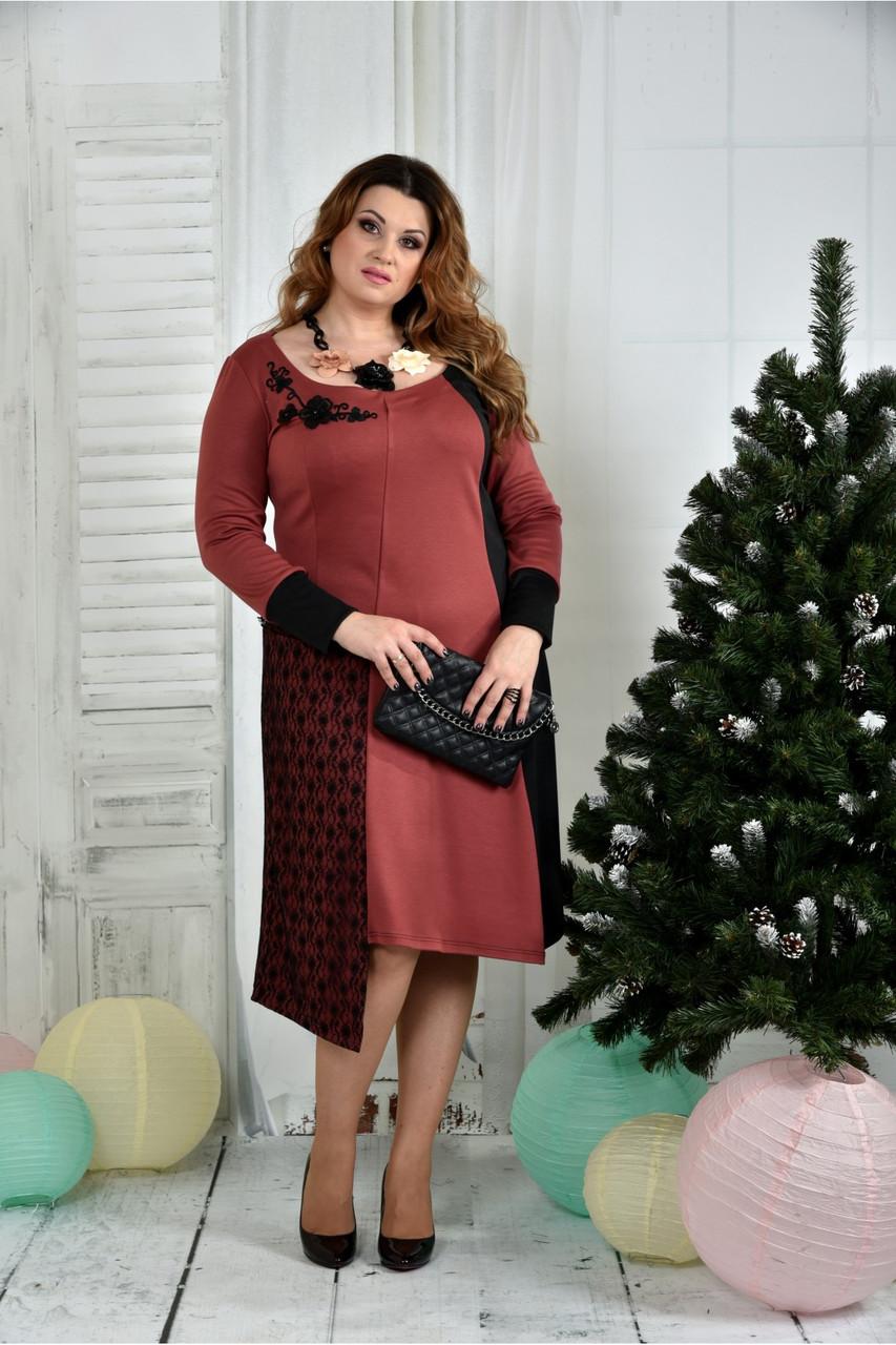 Женское элегантное платье для праздника 0376 цвет марсал размер 42-74 / батальное