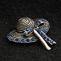 [25/20 мм] Брошь темный металл Женская шляпа с элегантным бантов с ярко-синими стразами