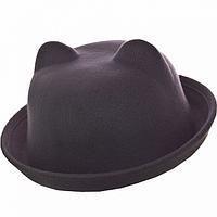 Женская фетровая шляпка с ушками