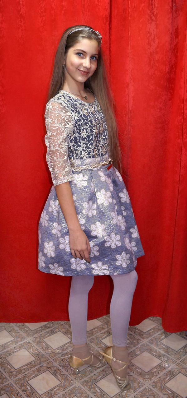 Платье для девочки стильное Золотое кружево / цветы Diren, фото 1