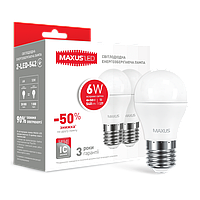 542-2 Лампа LED G45 F 6W 4100K 220 V E27  шар MAXUS 2шт.