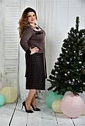 Женское элегантное платье для праздника 0376 цвет коричневый размер 42-74 / батальное, фото 3