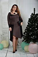 Женское элегантное платье для праздника 0376 цвет коричневый размер 42-74 / батальное