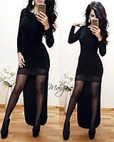 Женское оригинальное платье черного цвета с кружевом