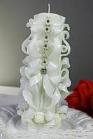 Свеча резная свадебная белая