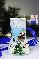 Свеча с Дедом Морозом на санках