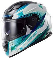 Шлем интеграл LS2 FF320 STREAM LUX WHITE-BLUE-GREEN