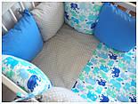 Ткань с цветными слонами: синими, голубыми, мятными (№465), фото 4