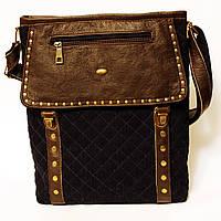 Джинсовая сумочка с темно-коричневой кожей  , фото 1