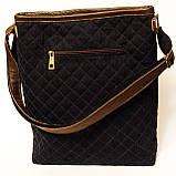 Джинсовая сумочка с темно-коричневой кожей  , фото 2