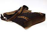 Джинсовая сумочка с темно-коричневой кожей  , фото 3