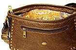 Джинсовая сумочка с темно-коричневой кожей  , фото 4