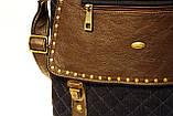 Джинсовая сумочка с темно-коричневой кожей  , фото 5