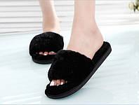 Тапочки домашние женские пушистые мягкие черные Shato