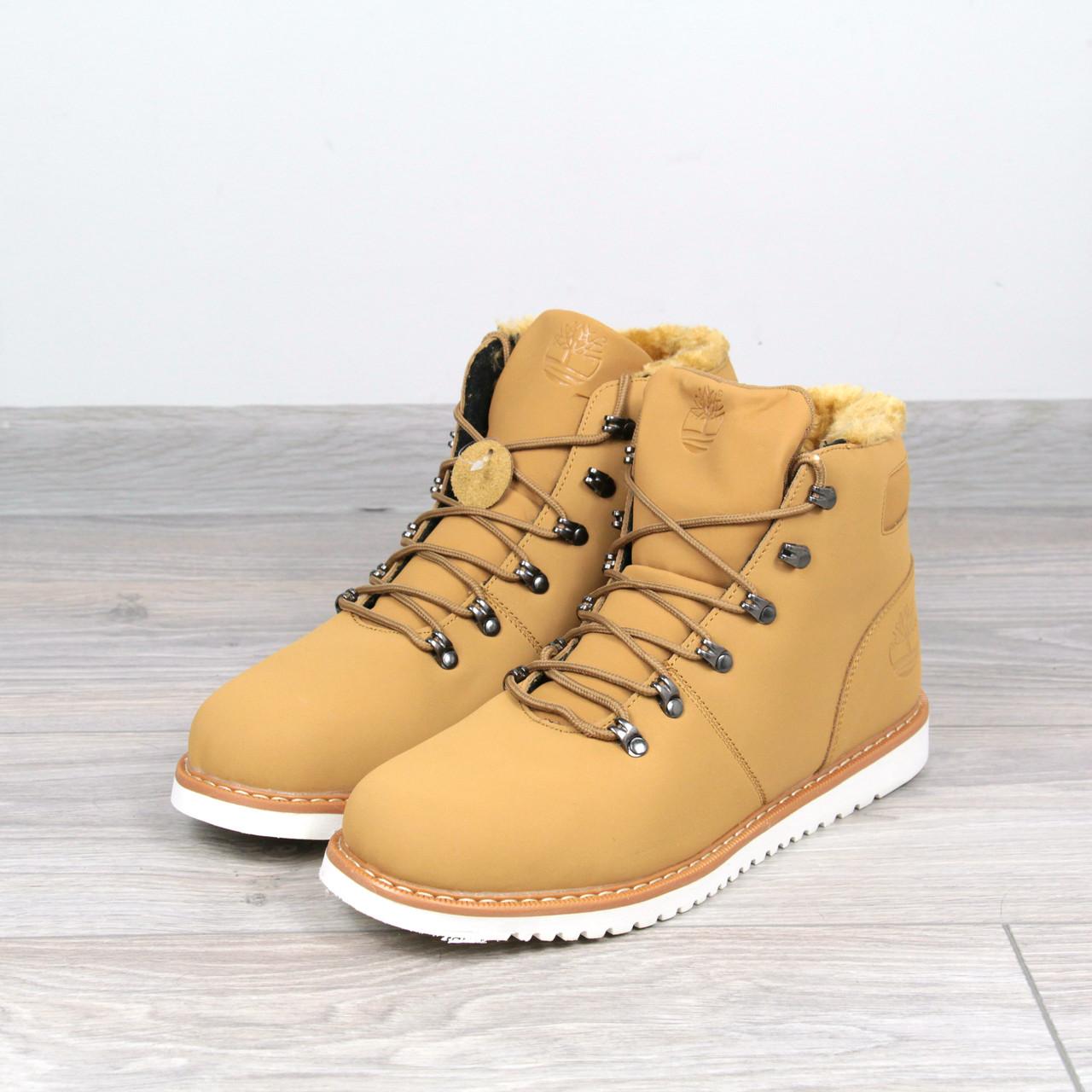 Ботинки Мужские зимние Timberland рыжие мех, зимняя обувь - Интернет-магазин