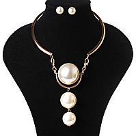 [10-40 мм] Набор Ожерелье + серьги жесткий круг с 3 огромными жемчужинами Gold