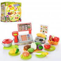 Детский кассовый аппарат с аксессуарами (продукты,касса,посуда)