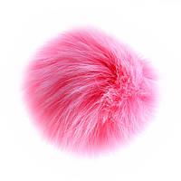 Брелок для сумок и ключей Бумбон на резинке натуральный мех лисы, цвет розовый