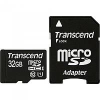 Карта памяти MicroSDHC 32Gb Transcend Class 10 + адаптер SD