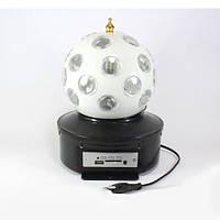 Диско шар Magic Ball Light K1, 5 RGB светодиодов, 9 режимов работы, воспроизведение MP3 файлов, USB, ДУ