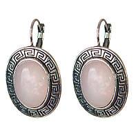[30 мм] Серьги женские с камнем из розового кварца