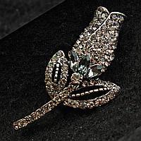 [23/43 мм] Брошь металл под капельное серебро тюльпан со стразами классическая