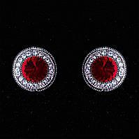 Серьги  2см  круг кристалл страза красный
