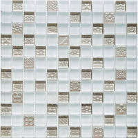 Мозаика для стен белая с серебром Vivacer DAF21