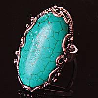 Кольцо без р-р  ажур овал  крупное  Зеленая  Бирюза