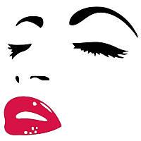 Наклейка виниловая Девушка глаза губы 3D декор