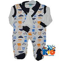 """Детский костюм с шапочкой """"Машинки"""" , трикотажный , для мальчика от 3-6-9 мес"""