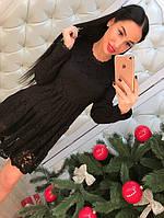 """Новогодняя коллекция! Женское, кружевное платье """"Юбка с мягкой драпировкой, длинные рукава""""   РАЗНЫЕ ЦВЕТА"""