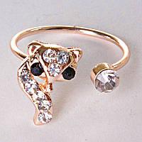Кольцо без р-р  на фалангу кошка лапка страза скоба