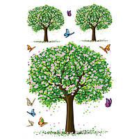 Наклейка виниловая Зеленые Деревья 3D декор