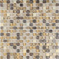 Мозаика камень стекло бежевая с коричневым Vivacer DAF22