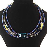 [2,5/3,5 мм] Ожерелье африканский мотив, цвета: синий, коричневый, черный, желтый,  4 ряда, металлические бусины, вставки плетенки и тканевые узоры,