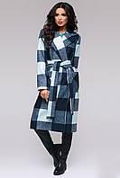 """Элегантное удлиненное пальто в клетку """"Эллисон"""" с поясом и накладными карманами (3 цвета)"""