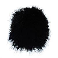 Брелок для сумок и ключей Бумбон на резинке натуральный мех лисы, цвет чёрный